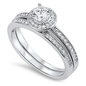 Sterling Silver .925 Cubic Zirconia CZ Halo Women's Round Shape Engagement Wedding Ring Set Bridal Set Sz 5-9 (9)