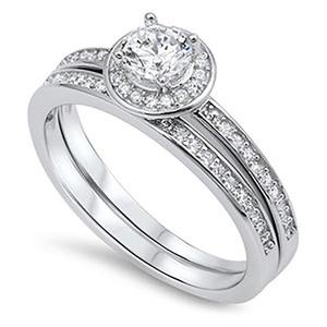Sterling Silver .925 Cubic Zirconia CZ Halo Women's Round Shape Engagement Wedding Ring Set Sz 5-9 (7)