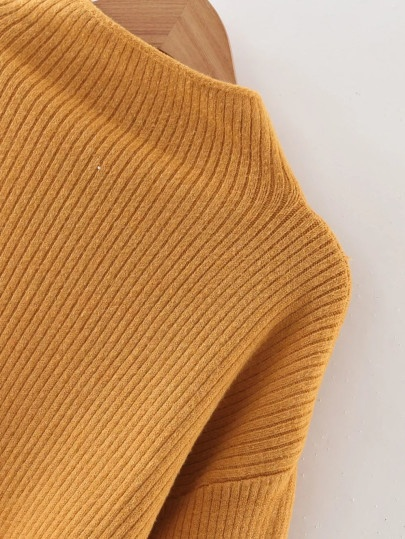 Ribbed Yellow Lantern Pullover Sweater