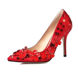 VASHOP Women's Fashion High Heel Pointed Toe Applique Stiletto Wedding Dress Pump Shoes,Red/7.5