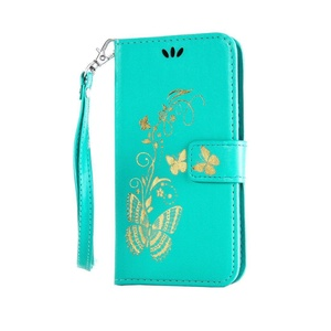 HTC 816 Case, HTC Desire 816 Case, Love Sound [Bronzing Butterfly/Green] [Wrist Strap] Luxury PU Leather Wallet Case Flip Cover Built-in Card Slots Stand for HTC Desire 816