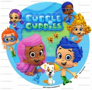 8 ~ Bubble Guppies Characters Background Birthday ~ Edible Image Cake/Cupcake Topper!!! by Piece of Cake Designs