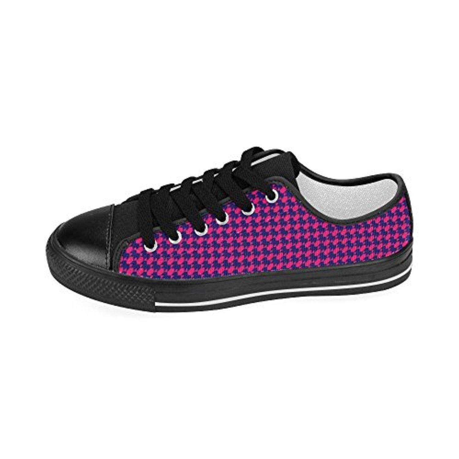 H-MOE Art Houndstooth Men's Canvas Shoes Low-top Lace-up Breathable Sneakers,Black