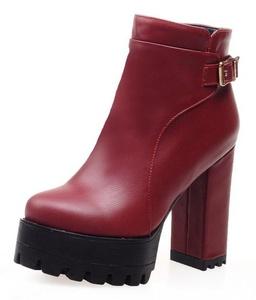 Sfnld Women's Retro Round Toe Lug Sole Platform High Chunky Heel Ankle Bootie Red 9 B(M) US