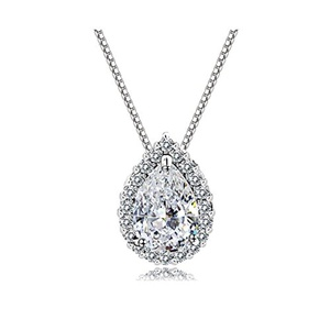 A&F&S Swarovski White Eternal Love Austria Crystal Water-drop Pendant Come with a Chain Necklace 18
