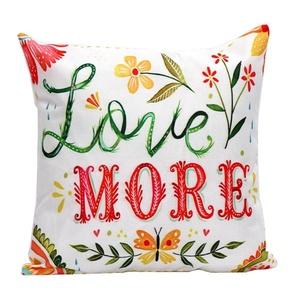 Iuhan Fashion Flower Letters Pillow Case Sofa Waist Throw Cushion Cover Home Decor (C)