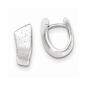 .925 Sterling Silver 17 MM Diamonds In & Out Hoop Earrings
