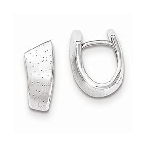 .925 Sterling Silver 17 MM Diamonds In & Out Hoop Earrings
