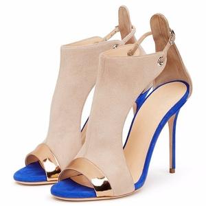 Eldof Womens High Heel Pumps | 12cm Peep Toe Sandals | Ankle Buckle Wedding Dress Stilettos Beige Blue Suede US8