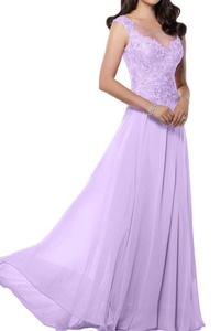 MILANO BRIDE Women's Prom Wedding Party Dress Illusion-Neck A-line Applique-20W-Lilac