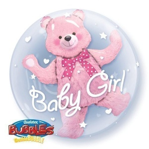 New Baby Girl Qualatex 24 Double Bubble Balloon by Baby, Christening & Baby Shower