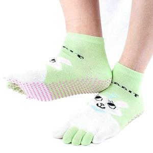 Women's Cartoon 5 Toes Non Slip Skid Cotton Yoga Socks with Grips (green-1)