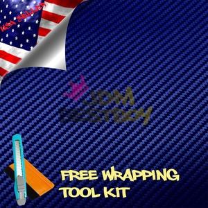 Free Tool Kit EZAUTOWRAP 3D Dark Blue Carbon Fiber Textured Car Vinyl Wrap Sticker Decal Film Sheet - 60