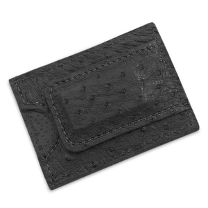 Genuine Ostrich Leather Magnetic Money Clip Wallet Handmade (Black)