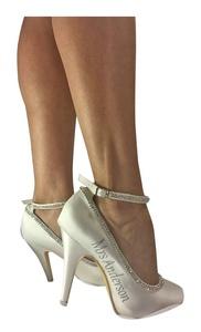 Ivory Strap Rhinestone Diamonte Customized 4 inch Bridal Heels Wedding Mrs Last Name