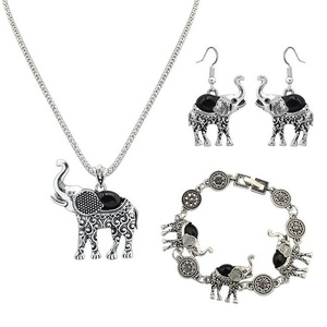 Womens Alloy Resin Elephant Pendant Necklace Bracelet Dangle Earrings Jewelry Set NK1161-Black