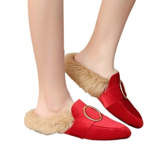 Women's Pointed Toe Slippers Real Rabbit Fur For Flat Hairs Shoes Red Velveteen Size 11 EU44