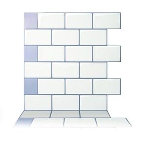 Tic Tac Tiles - Premium Anti-mold Peel and Stick Wall Tile in Subway Mono White (10 tiles)
