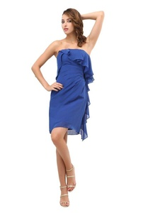 Angelia Bridal Women's Short Strapless Flounced Chiffon Prom Dress (Size 2)