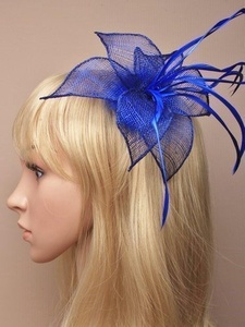 Hair Fascinator in Royal Blue sinamay pointed petals and feathers mounted on a clip suitable for weddings, races, prom by fascinator royal blue