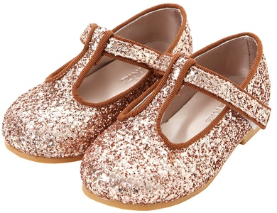 Ozkiz Girls Flats Counting the Stars Mary Jane Shoes Little Kids Toddler Pink Gold Size 8M