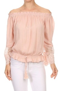 Color Era Womens Cute Sexy Ruffle Off Shoulder Bell Sleeve Tasseled Tie Front Bottom Blouse Blush S