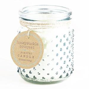 Blue Honeysuckle Bouquet Glass Hobnail Jar Candle