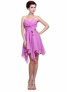 Angelia Bridal Women's Strapless Irregular Chiffon Cocktail Dress (Size 16)