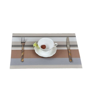 Lerela Striped Multicolored PVC Place Mats For Dining Table Heat Insulation Placemat Set Of 4 multicolored 1