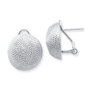 .925 Sterling Silver 19 MM Round Fancy Omega Back Earrings
