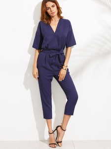 Sophisticated Blue V Neck Jumpsuit