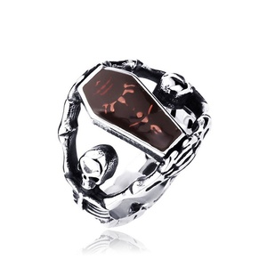 ARICO Directly Sell steel Skull Ring Punk Personality Stainless Steel Man Fashion Jewellery Ring 9.0