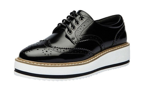 Youxuan Classic Women's Brogue Wingtip Platform Flats Girls Retro Oxford Shoe Black 7M US