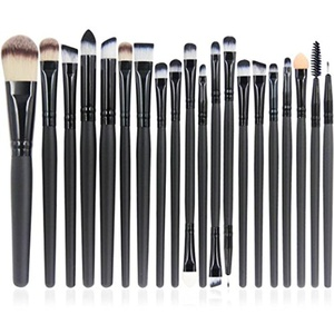 Make-up Brushes, QJ 20pcs Makeup Brushes Set Multi Function Foundation Eyeshadading Eyebrow Lip Eyeliner Cosmetic Tool (Black)
