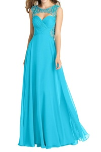 Winnie Bride Fabulous Beading Formal Evening Prom Dress for Pageant Ball Gown-16W-Deep Sky Blue