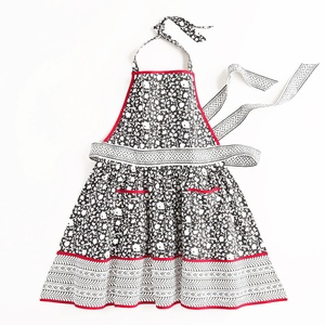 Black White and Fuchsia Print Apron
