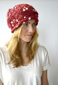 Knitting Kit: Rolled Edge Beanie from Knit Collage (Chili Pepper)