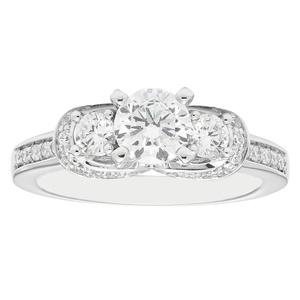 14K White Gold 1.25 c.t. TW Round Cut Three Stone Diamond Engagement Ring