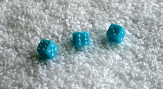 Three Mini Minis Aqua Opaque Dice by NON-Label by NON-Label