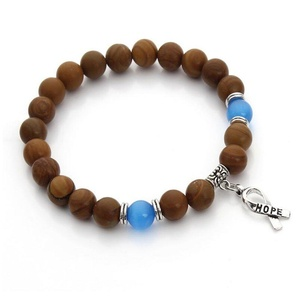 Leobeads Wood Grain Cancer Awareness Hope Ribbon Charm Opal 8mm Bead Cat's Eye Stone Bracelet