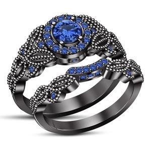 TVS-JEWELS Black Rhodium Plated 925 Silver Round Cut Blue Sapphire Engagement Ring Set (7)