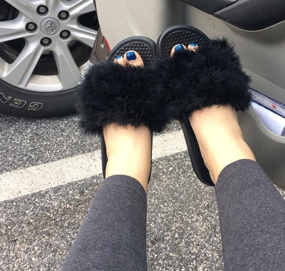Adorable Furry Nike Slides