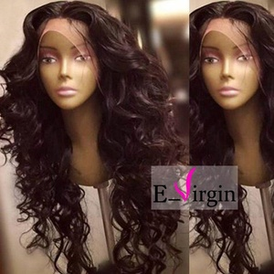 Virgin Hair Factory Natural Wave Natural Color Middle Part Unique Silk Top Front Lace Wig 100% Brazilian Remy Human Hair wigs for Woman (150% Density, 22 inch)
