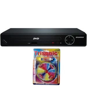 Sylvania HDMI 1080p DVD Player with USB Port (SDVD6670) with Trisonic Laser Lens Cleaner for DVD/CD Players