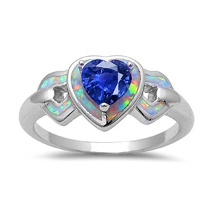 Heart Promise Ring Lab Created White Opal And Simulated Sapphire 925 Sterling Silver