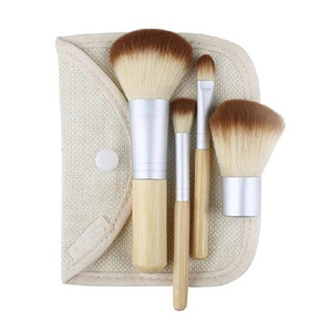 CINEEN Professional Bamboo Handle 4Pcs Makeup Brushes Makeup Tool Suite Concealer Brush Eye Shadow Brush Honey Paint Brush Blush Brush with a Full Linen Package