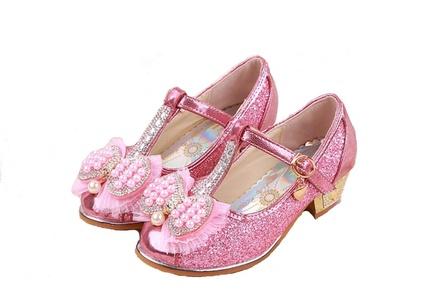 Toddler Girls Crystal Princess Shoes Beads Rhinestone T-Strap Black Low Heel Pumps (11 M US Toddler, Pink)