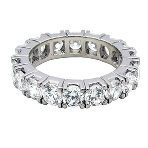 GR26345 SOLID 14K YELLOW OR WHITE GOLD 3.5CT TW 3.75mm BRILLIANT CUT ROUND CUBIC ZIRCONIA 4 PRONG ETERNITY BAND RING (yellow-gold, 5)