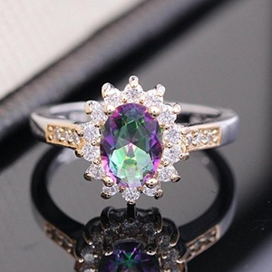 Women Engagement Ring Bling Multi Crystal CZ 24K Double Gold Plated Jewelry Rings (Ring Size 8)