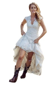 Aokaixin Vintage Hi-Lo Lace Wedding Dresses V Neck Capped Sleeves Bridal Gowns White US12